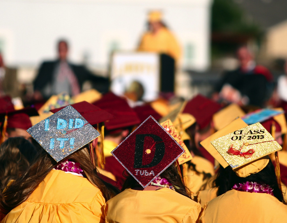 . Liberty High School Class of 2013 graduates participate in their commencement ceremony on the school\'s Ohmstede Field in Brentwood, Calif., on Friday, June 7, 2013. (Anda Chu/Bay Area News Group)