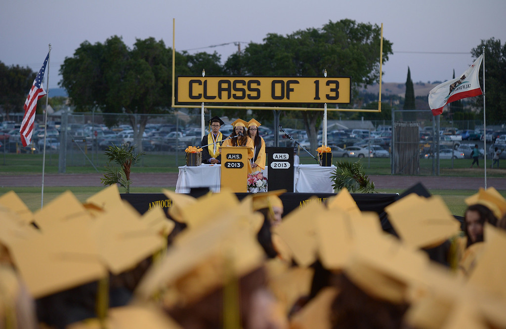 . Antioch High School co-salutatorian Shuk Yan Lau gives her speech during graduation ceremonies at Antioch High School in Antioch, Calif., on Thursday, June 6, 2013. (Jose Carlos Fajardo/Bay Area News Group)