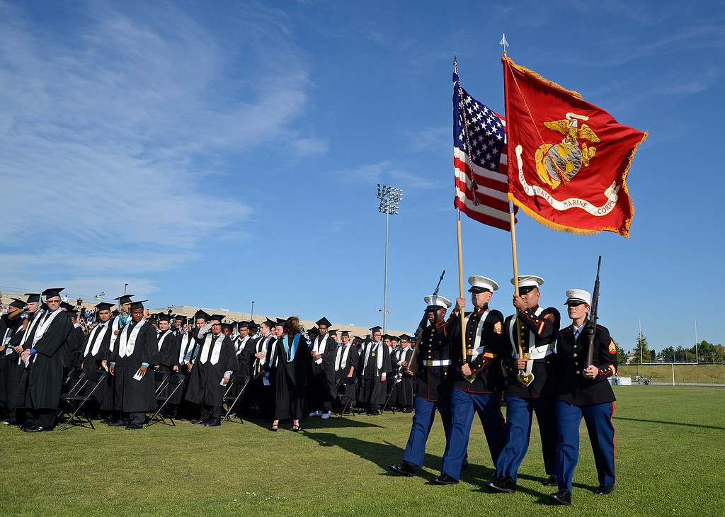 . A U.S. Marine color guard unit displays the colors during graduation ceremonies at Deer Valley High School in Antioch, Calif., on Thursday, June 6, 2013. (Jose Carlos Fajardo/Bay Area News Group)