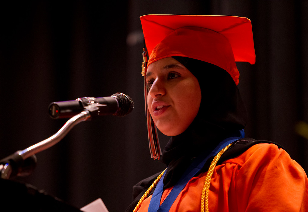 . Valedictorian Sana Saeed delivers her address during the graduation ceremonies for the Class of 2013 at McClymonds High School, Thursday, June 13, 2013 in Oakland, Calif. (D. Ross Cameron/Bay Area News Group)