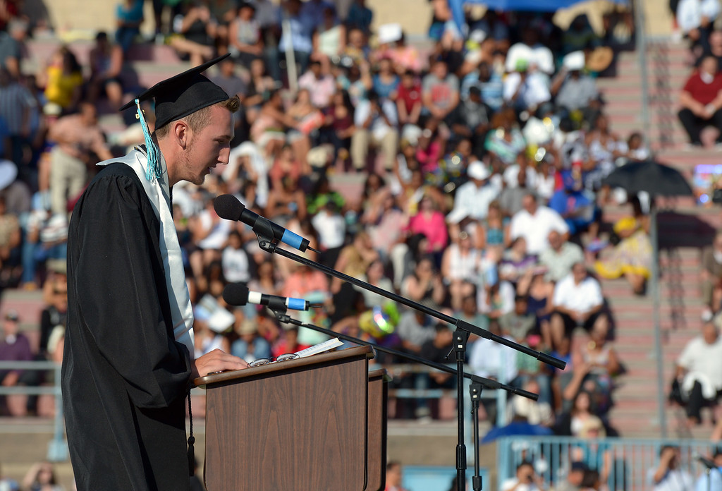 . Deer Valley High School senior class president James McKenna addresses the graduating class during graduation ceremonies at Deer Valley High School in Antioch, Calif., on Thursday, June 6, 2013. (Jose Carlos Fajardo/Bay Area News Group)