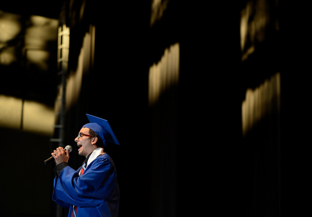 ". Clayton Valley Charter High School student Jacob Ben-Shmuel sings ""I Can Go The Distance\"" during commencement ceremonies on Thursday, May 30, 2013 at Sleep Train Pavilion in Concord, Calif. (Jose Carlos Fajardo/Bay Area News Group)"