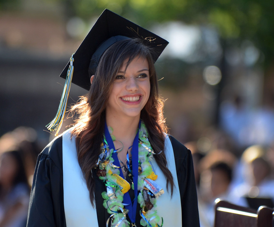 . Jessica Amber Greensides is all smiles as her name is called during the Dozier-Libbey Medical High School 2013 Commencement Ceremony held at Deer Valley High School in Antioch, Calif., on Wednesday, June 5, 2013. (Susan Tripp Pollard/Bay Area News Group)