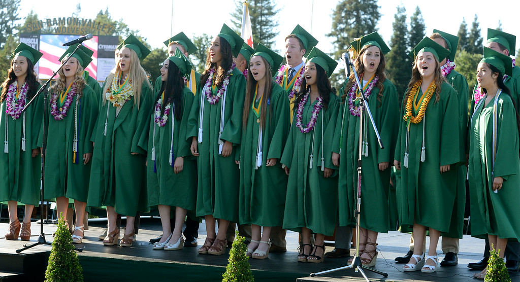 ". San Ramon Valley High School Singers sing the ""Star Spangled Banner\"" during the school\'s Commencement Ceremony in Danville, Calif., on Friday, June 14, 2013. (Doug Duran/Bay Area News Group)"