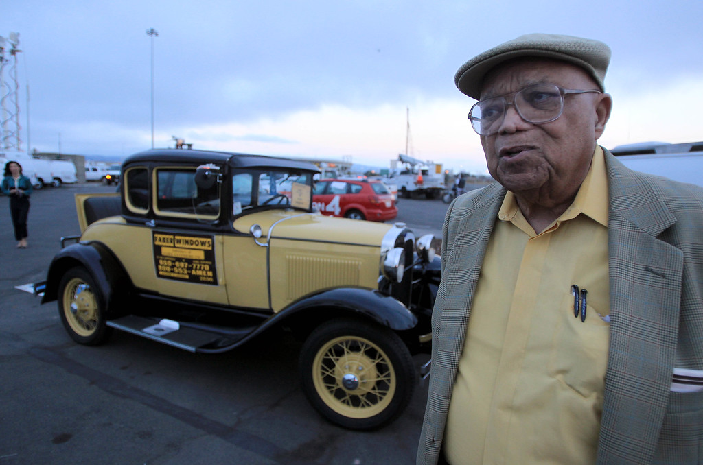 Description of . Bob Faber, of Richmond, prepares to drive his 1930 Model A Ford across the Bay Bridge in Oakland, Calif., on Wednesday, Aug. 28, 2013. Faber was the last vehicle to drive over the bridge. The old eastern span was shut down permanently at 8 p.m. tonight, and the new span is expected to open to traffic at 5 a.m. on Tuesday, Sept. 3.  Construction of the largest self-anchored suspension bridge in the world began in 2002. (Jane Tyska/Bay Area News Group)