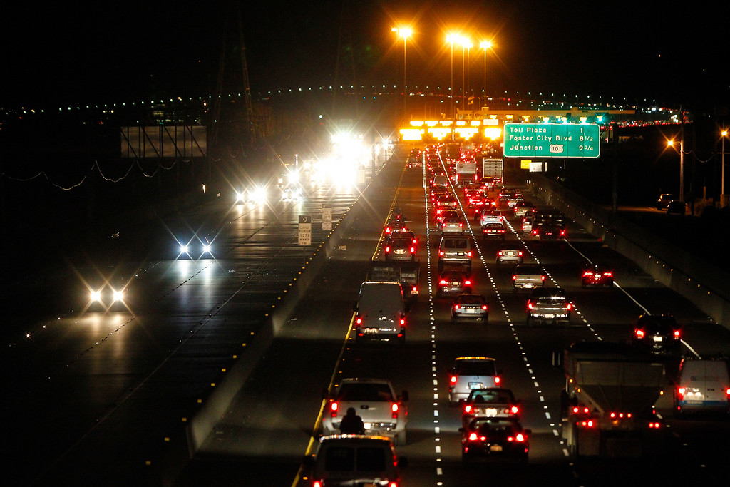 Description of . Automobiles move along Highway 92 near the toll plaza of the San Mateo-Hayward Bridge on Thursday, Aug. 29, 2013, in Hayward, Calif.  (Aric Crabb/Bay Area News Group)
