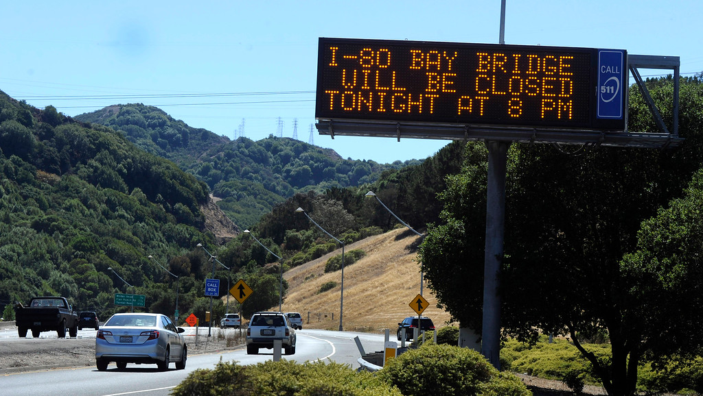 Description of . A sign along west bound Highway 24 alerts motorist about the closure just hours away on the old eastern span of the Bay Bridge in Orinda, Calif., on Wednesday, Aug. 28, 2013. The bridge is scheduled to reopen on Tuesday September 3. (Susan Tripp Pollard/Bay Area News Group)