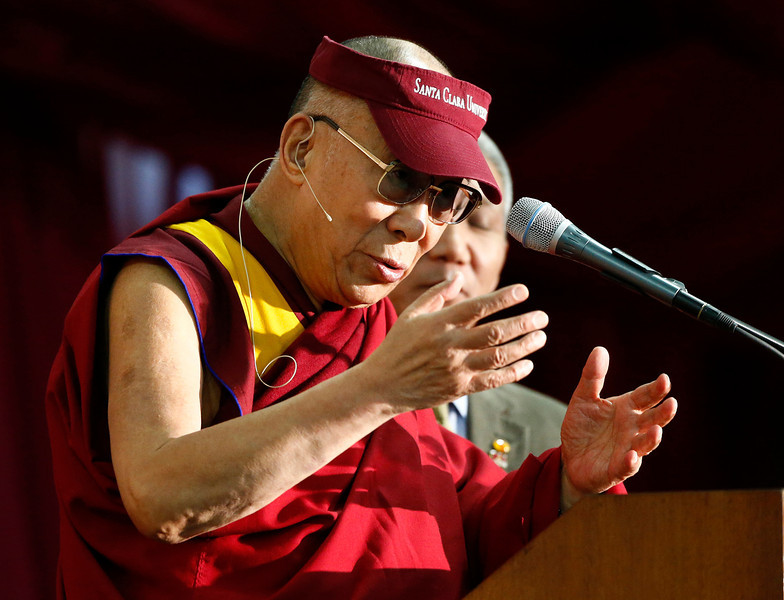 Tibetan spiritual leader the Dalai Lama gives a speech on business, ethics and compassion at the Leavey Event Center at Santa Clara University in Santa Clara, Calif. on Monday, Feb. 24, 2014. (Gary Reyes/Bay Area News Group)