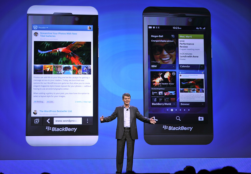 Description of . Blackberry, formerly Research in Motion CEO Thorsten Heins, as officially unveils the BlackBerry 10 mobile platform as well as two new devices January 30, 2013 at the New York City Launch at Pier 36. (TIMOTHY A. CLARY/AFP/Getty Images)
