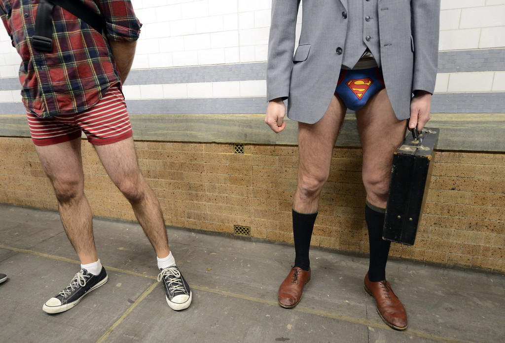 Description of . Some riders in the New York City subway wore only their underwear as they take part in the 2013 No Pants Subway Ride January 13, 2013. Started by Improv Everywhere, the goal is for riders to get on the subway train dressed in normal winter clothes (without pants) and keep a straight face.  (AFP PHOTO / TIMOTHY A. CLARY/Getty Images)