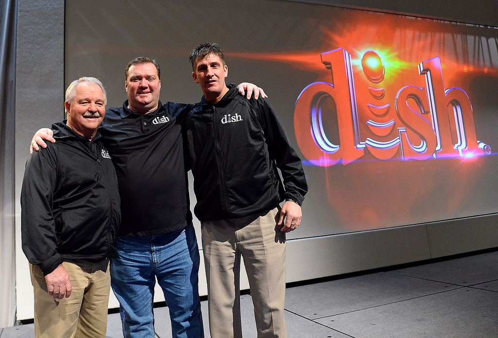 Description of . Actors from DISH\'s Hopper television commercials (L-R) Neal Odams, Patrick Flaherty and Sean Malone, pose after a DISH press event at the Mandalay Bay Convention Center for the 2014 International CES on January 6, 2014 in Las Vegas, Nevada. (Ethan Miller/Getty Images)