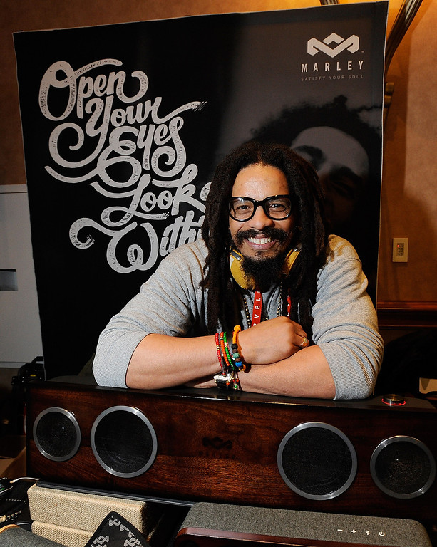 Description of . Rohan Marley, son of late Reggae musician Bob Marley, displays the USD 799 One Foundation speaker system from the House of Marley at a press event at the Mandalay Bay Convention Center for the 2013 International CES on January 6, 2013 in Las Vegas, Nevada. (Photo by David Becker/Getty Images)