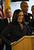 State Attorney General Kamala Harris speaks during a press conference at the Oakland Emergency Operations Center in Oakland, Calif., on Friday, March 8, 2013.  Harris is an Oakland native. (Jane Tyska/Staff)