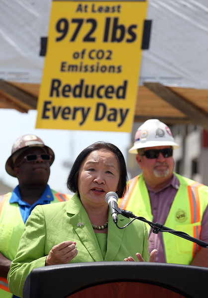 Oakland Mayor Jean Quan speaks during a press conference on green gas emissions at the MacArthur BART station in Oakland, Calif., on Thursday, May 15, 2014. (Jane Tyska/Bay Area News Group)