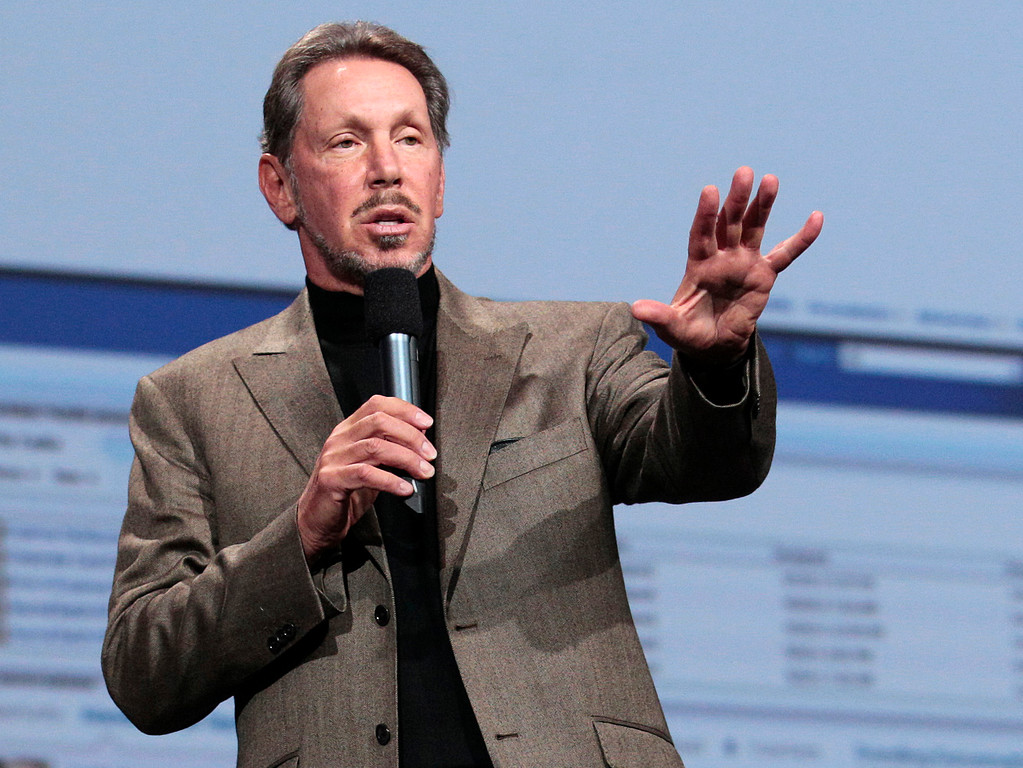 Description of . In this Oct. 5, 2011 photo, Oracle CEO Larry Ellison speaks during the Oracle OpenWorld Keynote in San Francisco. Ellison has reached a deal to buy 98 percent of the island of Lanai from its current owner, Hawaii Gov. Neil Abercrombie said Wednesday, June 20, 2012. (AP Photo/Jeff Chiu)