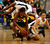 Wilcox High School's D'Airrien Jackson (25) fights for a loose ball against Archbishop Mitty High School's Regina Chi (13) in the second period for the CCS Open Division Girls Basketball semifinals at Oak Grove High School in San Jose, Calif., on Wednesday, Feb. 27, 2013.  (Nhat V. Meyer/Staff)