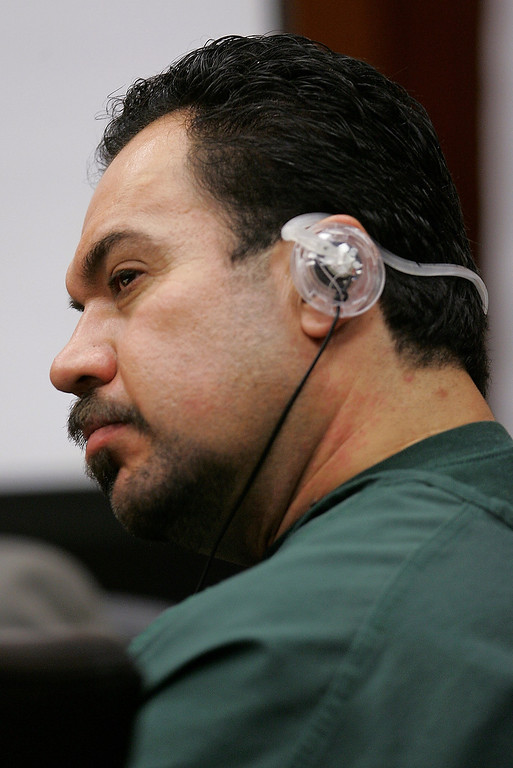 Description of . Jaime Plascencia, 44, listens to a translation in a Santa Clara County Superior Court in a San Jose, Calif., Wednesday, Jan. 18, 2006. Plascencia, and his wife Anna Ayala, who cooked up a scheme last March to plant a severed finger in a bowl of Wendy's chili to extort money from the fast food chain, were sentenced to up to nine years in prison. (AP Photo/Paul Sakuma)
