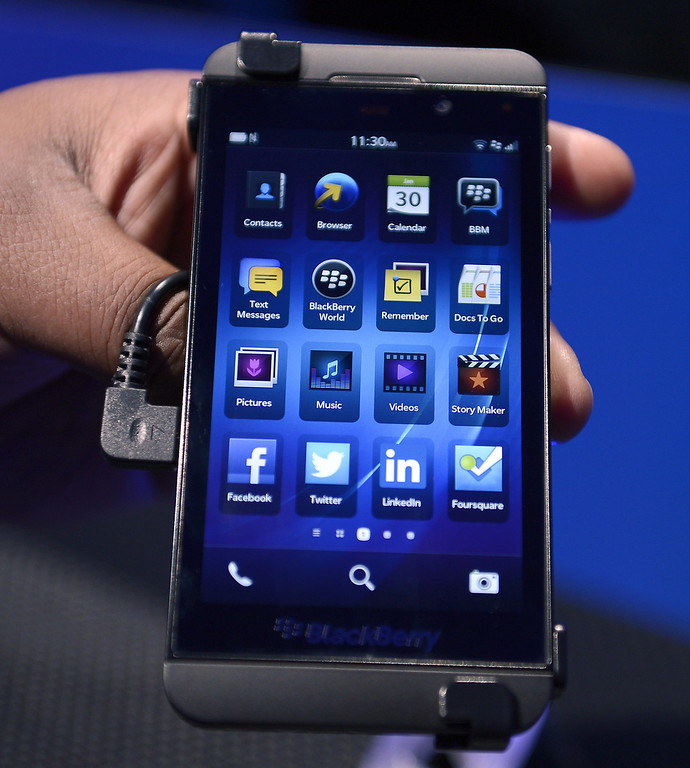 Description of . The BlackBerry 10 mobile platform is seen after being unveiled January 30, 2013 at the New York City Launch at Pier 36. (TIMOTHY A. CLARY/AFP/Getty Images)
