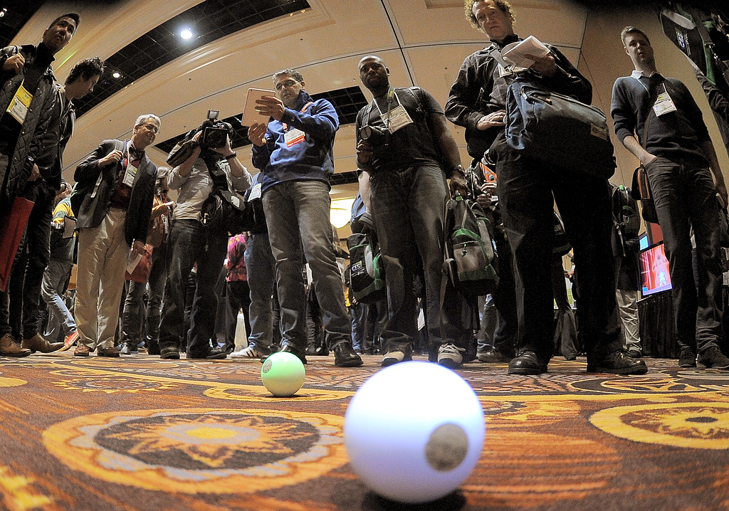 Description of . Sphero robot ball operated by iPad is shown during the opening event \'\'CES Unveiled\'\'  during the  International Consumer Electronics Show (CES) in Mandalay Bay Hotel resort on January 06, 2013 in Las Vegas, Nevada. (JOE KLAMAR/AFP/Getty Images)