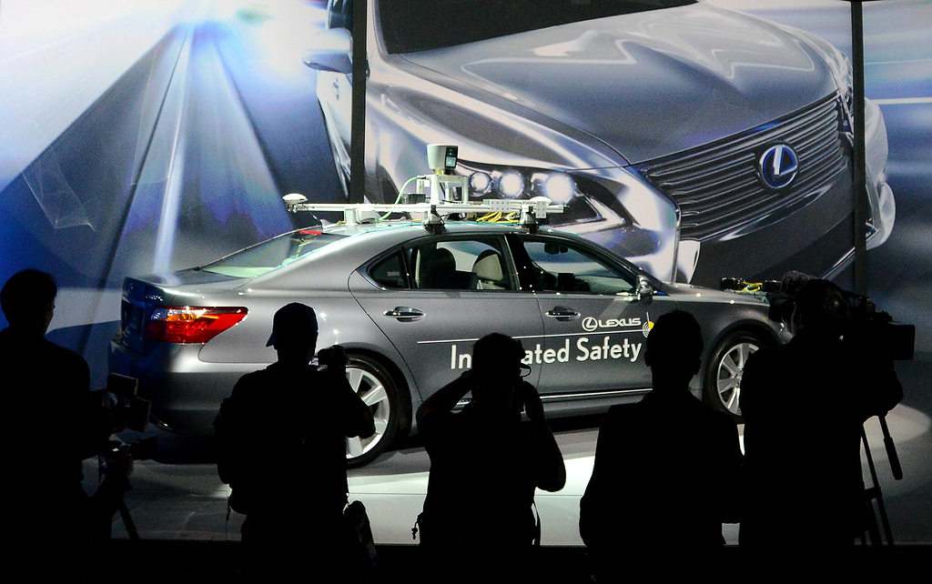 Description of . Toyota presents an experimental automated car at the 2013 International Consumer Electronics Show in Las Vegas, Nevada, on January 7, 2013. (JOE KLAMAR/AFP/Getty Images)