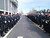 Officers line a path outside HP Pavilion in San Jose, Calif., on Thursday, March 7, 2013. (Shmuel Thaler/Santa Cruz Sentinel)