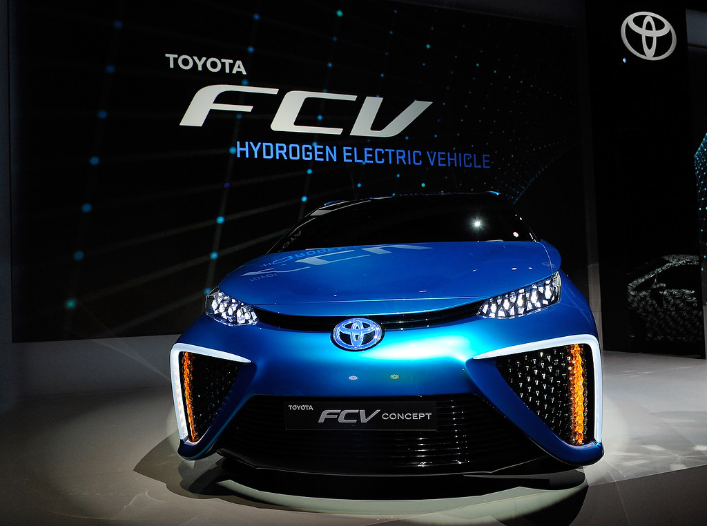 Description of . A Toyota fuel cell concept vehicle is displayed during press event at the Mandalay Bay Convention Center for the 2014 International CES on January 6, 2014 in Las Vegas, Nevada. (David Becker/Getty Images)