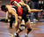Archbishop Mitty's Chandler Ramirez, right, wrestles Centennial's Oscar Martinez in a 195-pound first round match during the California Interscholastic Federation wrestling championships in Bakersfield, Calif., on Friday, March 1, 2013. Ramirez would go onto win the match. (Anda Chu/Staff)
