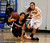 Lynbrook High School's Dolly Yuan (42) passes the ball off against St. Francis High School's Shelbi Aimonetti (3) in the fourth period for the CCS Open Division Girls Basketball semifinals at Oak Grove High School in San Jose, Calif., on Wednesday, Feb. 27, 2013.  St. Francis High School won 37-27.  (Nhat V. Meyer/Staff)