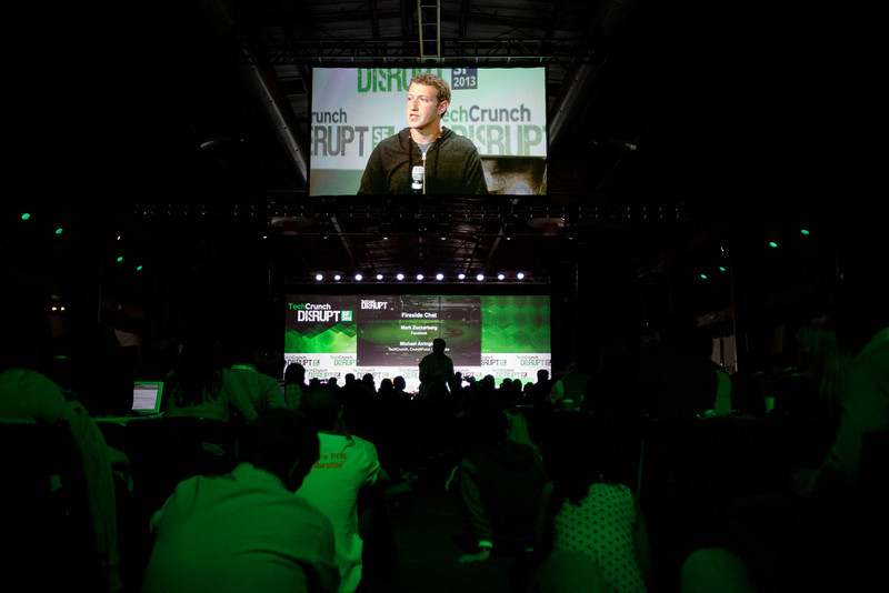 Facebook founder Mark Zuckerberg is seen on a display as he speaks at the annual TechCrunch Disrupt conference in San Francisco on Sept. 11, 2013. (Dai Sugano/Bay Area News Group)