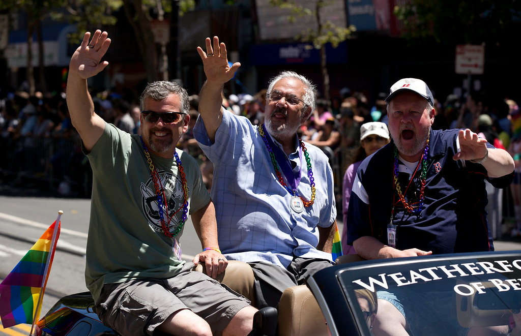 . Former Congressman Barney Frank, center, waves to the crowd at the 44th annual San Francisco Pride Parade, Sunday, June 29, 2014 on Market Street in San Francisco. (D. Ross Cameron/Bay Area News Group)