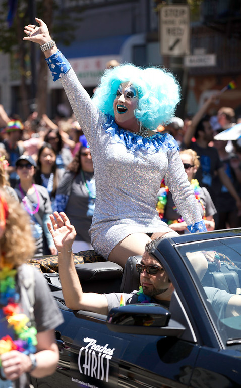 . Drag queen Peaches Christ waves to the crowd at the 44th annual San Francisco Pride Parade, Sunday, June 29, 2014 on Market Street in San Francisco. (D. Ross Cameron/Bay Area News Group)
