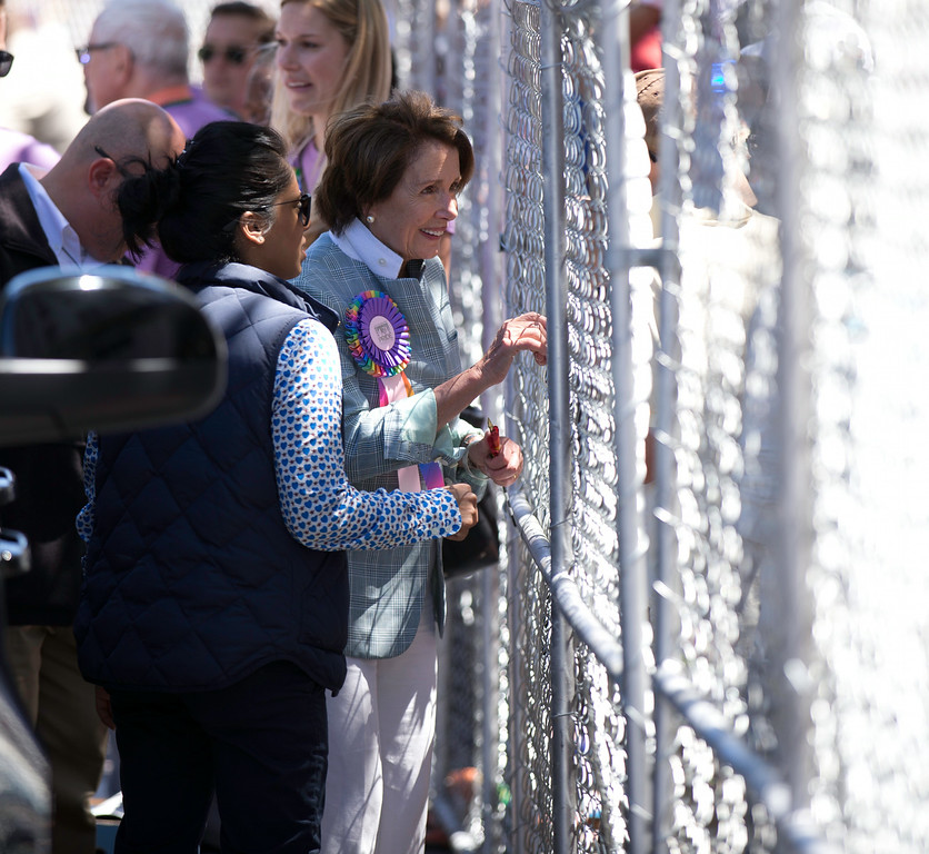 . U.S. Rep. Nancy Pelosi (D-San Francisco), right, greets well-wishers through a chain link fence as she departs the 44th annual San Francisco Pride Parade, Sunday, June 29, 2014 on Market Street in San Francisco. (D. Ross Cameron/Bay Area News Group)