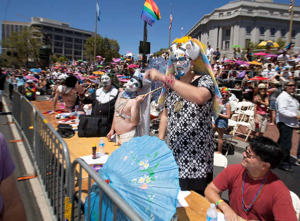. The Sisters of Perpetual Indulgence greet the passing marchers at the 44th annual San Francisco Pride Parade, Sunday, June 29, 2014 on Market Street in San Francisco. (D. Ross Cameron/Bay Area News Group)