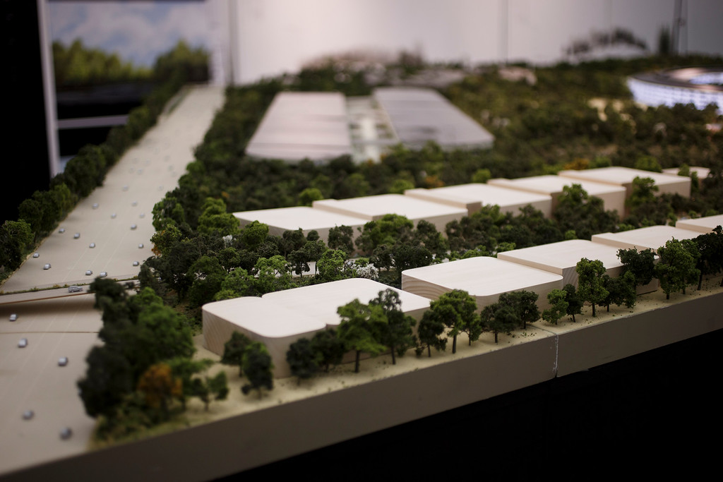 . A model of Apple\'s proposed new campus includes buildings for research and development. The plan will go up for a final vote before the Cupertino City Council on Oct. 15. The model was photographed at Apple\'s office located at the proposed new campus site on Oct. 10, 2013 in Cupertino. (Dai Sugano/Bay Area News Group)