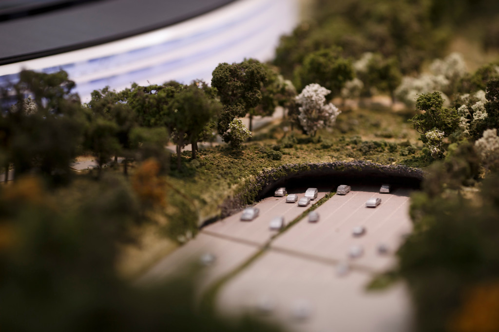 . A model of Apple\'s proposed new campus shows a road leading to an underground parking space. The plan will go up for a final vote before the Cupertino City Council on Oct. 15. The model was photographed at Apple\'s office located at the proposed new campus site on Oct. 10, 2013 in Cupertino. (Dai Sugano/Bay Area News Group)