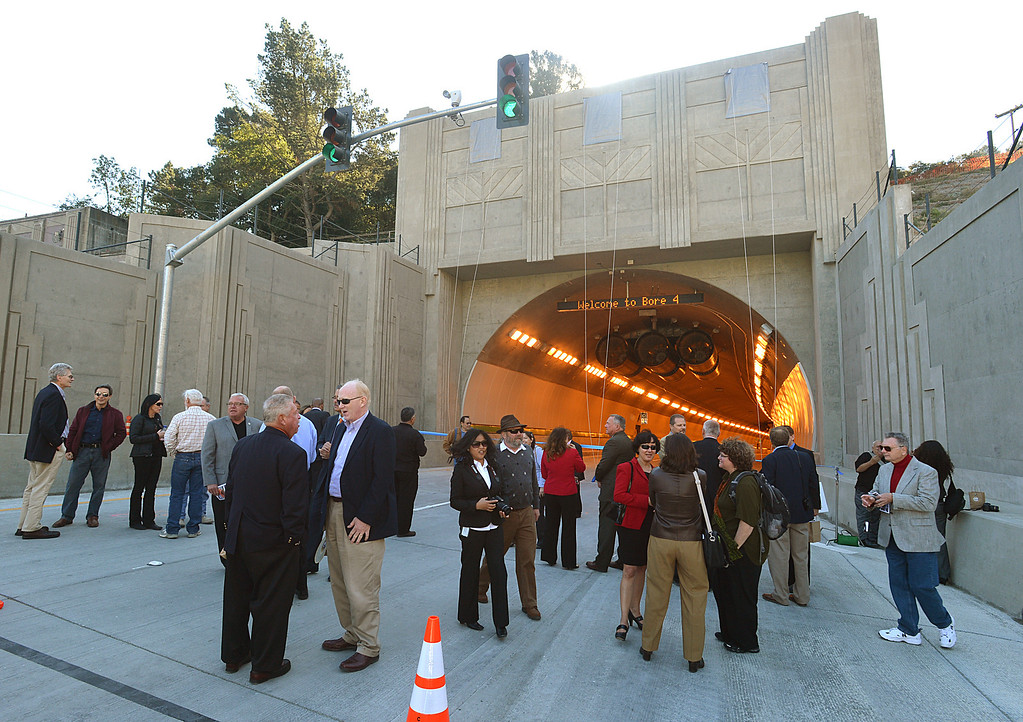 . Guests gather in front of the new Caldecott Fourth Bore  before the official ribbon cutting in Orinda, Calif., on Friday, Nov. 15, 2013. (Dan Rosenstrauch/Bay Area News Group)