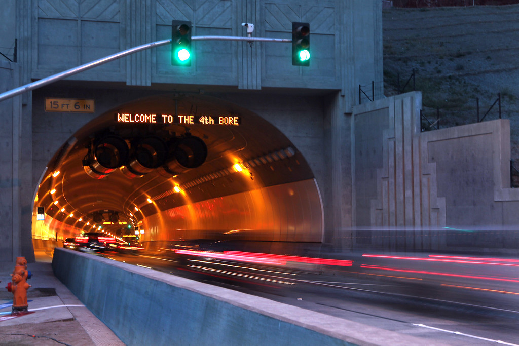 . Light streaks from cars drive through the fourth bore of the Caldecott Tunnel after it was opened early Saturday, Nov. 16, 2013, in Orinda, Calif. (Ray Chavez/Staff)