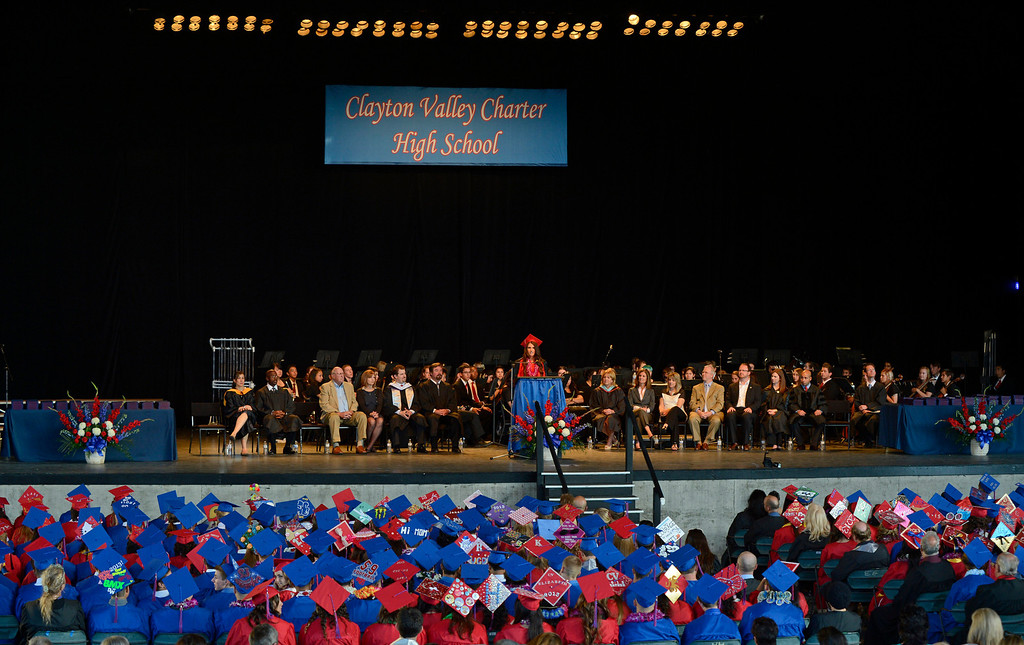 . Clayton Valley Charter High School senior class president Devyn Wiesendanger addresses the audience during commencement ceremonies on Thursday, May 30, 2013 at Sleep Train Pavilion in Concord, Calif. (Jose Carlos Fajardo/Bay Area News Group)