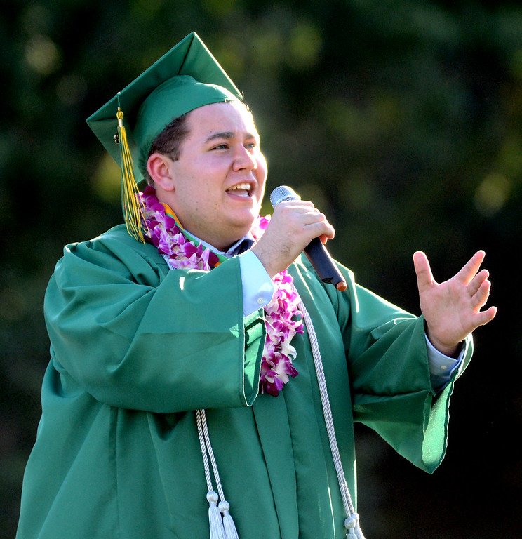 ". San Ramon Valley High School graduate Jonathon Miller, sings ""This is the Moment\"" during the school\'s Commencement Ceremony in Danville, Calif., on Friday, June 14, 2013. (Doug Duran/Bay Area News Group)"