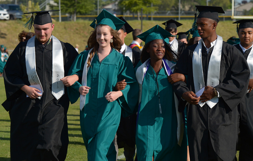 . Deer Valley High School students walk towards the stage during graduation ceremonies at Deer Valley High School in Antioch, Calif., on Thursday, June 6, 2013. (Jose Carlos Fajardo/Bay Area News Group)
