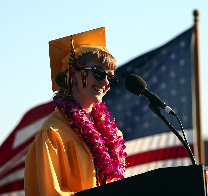 . Valedictorian Anneka Weinert address her fellow graduates during the Liberty High School Class of 2013 commencement ceremony on the school\'s Ohmstede Field in Brentwood, Calif., on Friday, June 7, 2013. (Anda Chu/Bay Area News Group)