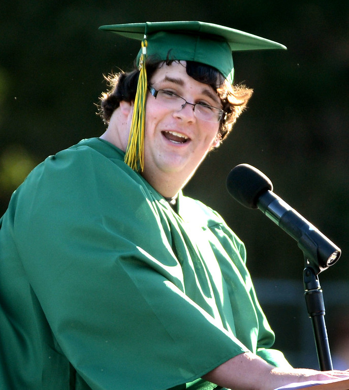 . San Ramon Valley High School senior student speaker Jacob LaBombarda gives a speech during the school\'s Commencement Ceremony in Danville, Calif., on Friday, June 14, 2013. (Doug Duran/Bay Area News Group)