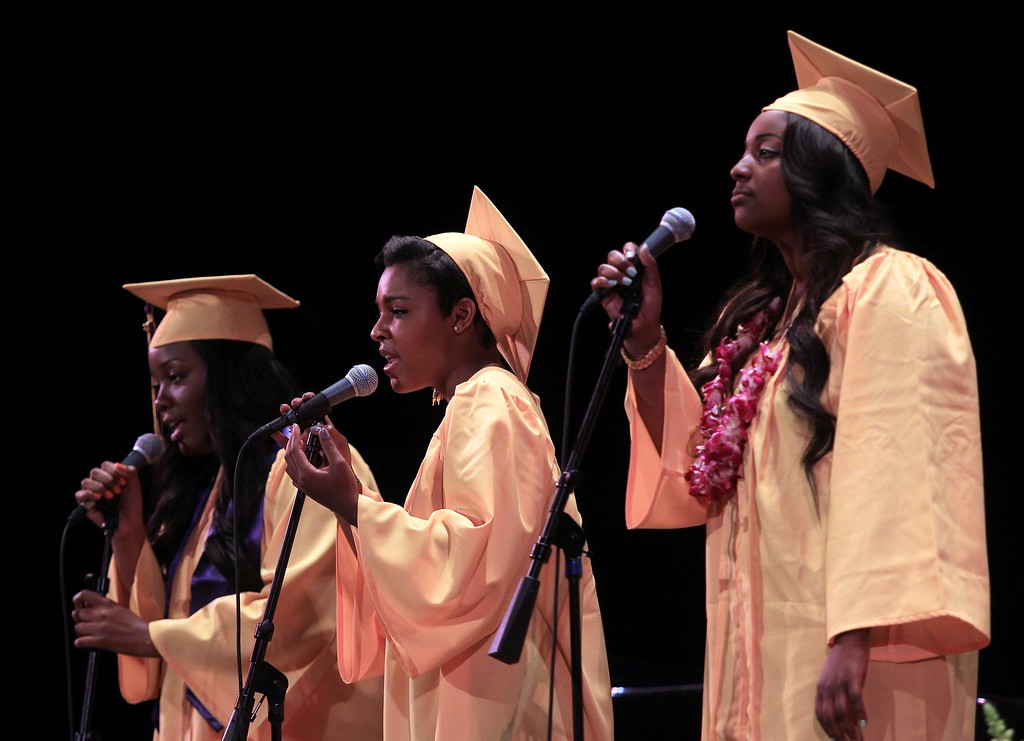 ". The Senior Quartet (fourth member not pictured playing piano) perform the song ""Rare\"" during Oakland Technical High School graduation ceremonies at the Paramount Theatre in Oakland, Calif., on Tuesday, June 11,  2013. Crystal Brooks, center, Meron Arefaome, Ida Jackson and Maiyah Phelps make up the quartet. (Jane Tyska/Bay Area News Group)"