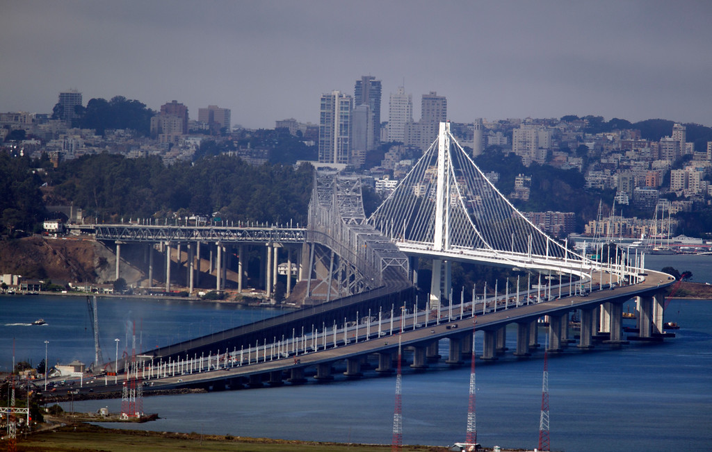 . The Bay Bridge sits empty of car traffic, so that the construction of the new eastern span of the bridge can be completed, Thursday, Aug. 29, 2013, in Oakland, Calif. (D. Ross Cameron/Bay Area News Group)