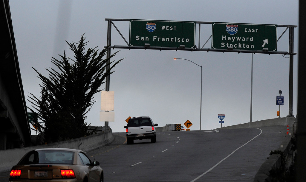 . Some of the last motorists get on at the West Grand Avenue onramp to Interstate 80 and the Bay Bridge before it is closed in Oakland, Calif., on Wednesday, Aug. 28, 2013. The bridge is scheduled to reopen on Tuesday, Sept. 3. (Susan Tripp Pollard/Bay Area News Group)