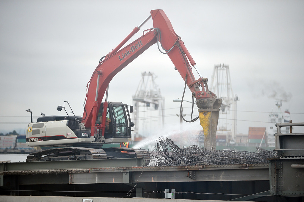 . Demolition work is underway on the Bay Bridge in Oakland, Calif. on Thursday, Aug. 29, 2013. (Kristopher Skinner/Bay Area News Group)