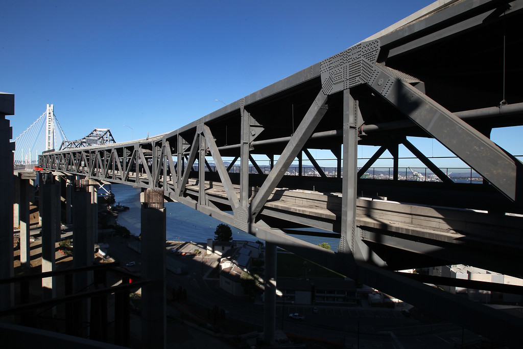 . View of the old eastern span of the Bay Bridge seen from a  bypass at Treasure Island in San Francisco, Calif., on Thursday, Aug. 30, 2013.  (Ray Chavez/Bay Area News Group)