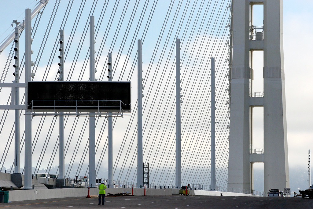 . The new Bay Bridge is photographed in Oakland, Calif., on Saturday, Aug. 31, 2013. According to Caltrans, progress continues to remain on schedule on the third day of the bridge closure. (Anda Chu/Bay Area News Group)