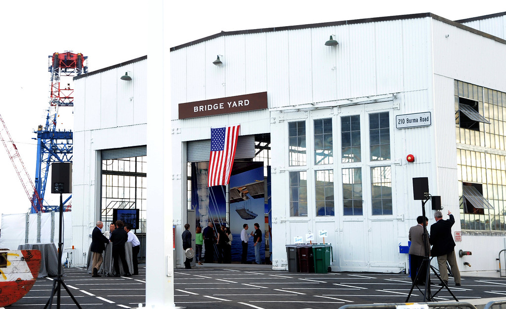 . American Bridge/Fluor Enterprises, the primary contractor for the self-anchored suspension segment of the new span, held a private celebration for their employees and guests Sunday evening Sept. 1, 2013 at the Sawtooth Building in Oakland, Calif. (Karl Mondon/Bay Area News Group)