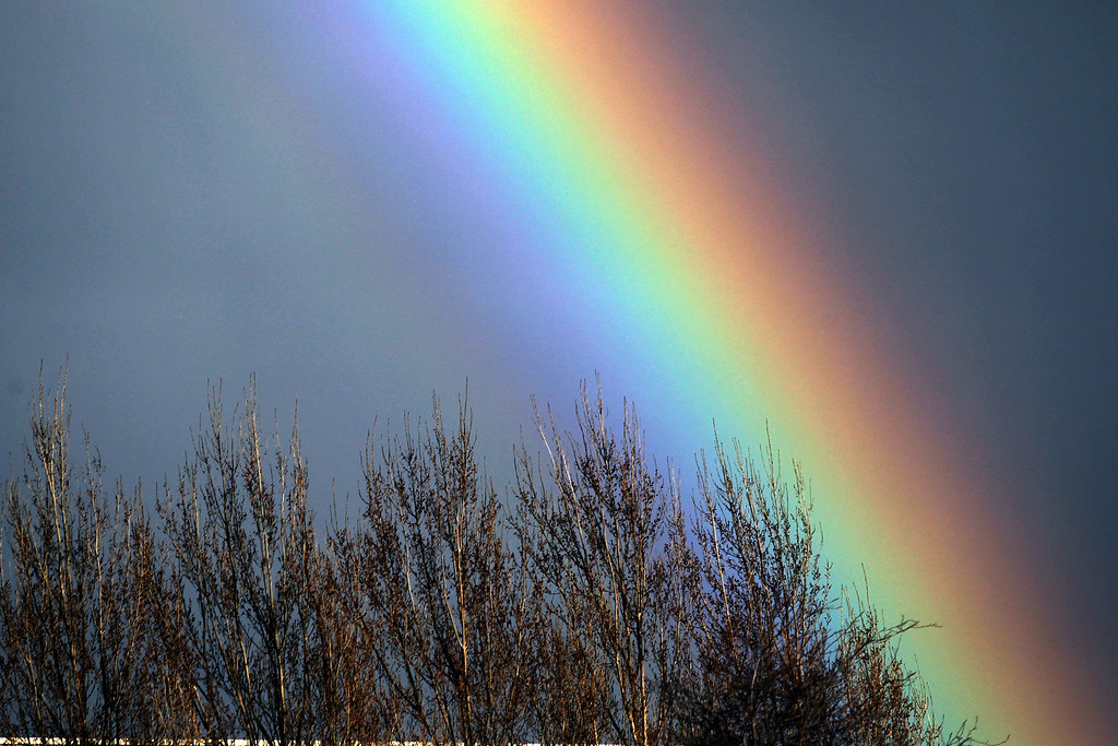 . A rainbow appears in the horizon as the rain falls in Alameda, Calif., on Friday, Feb. 28, 2014. (Ray Chavez/Bay Area News Group)